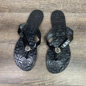 Tory Burch Thora Leather Sandals 10 Black Patent